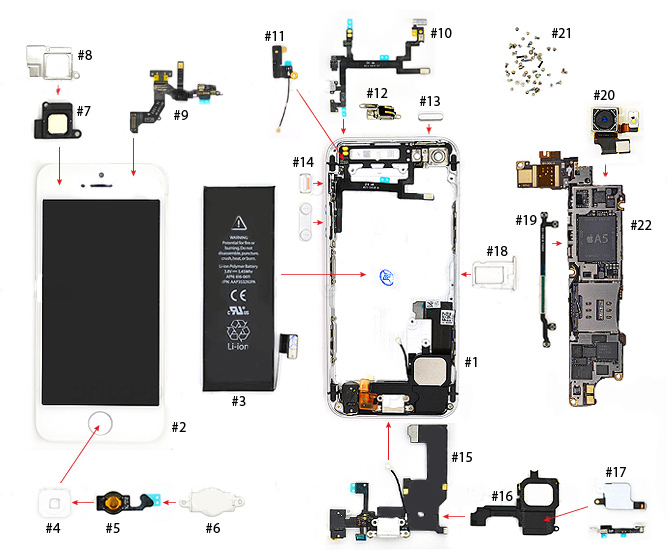 Iphone 5 Parts Diagram Vkrepair