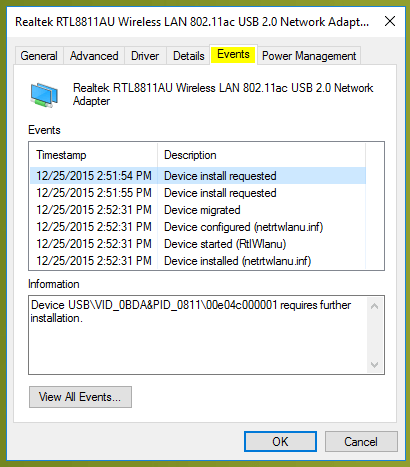 WiFi doesn't have a valid IP configuration events