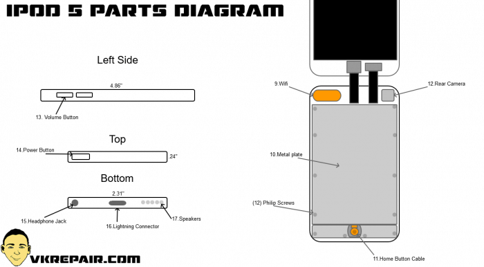 iPod 5th generation part diagram