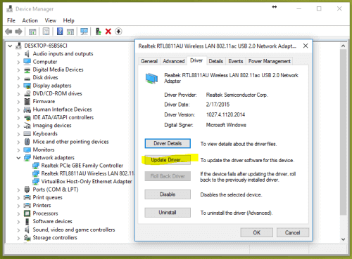 WiFi doesn't have a valid IP configuration update network driver
