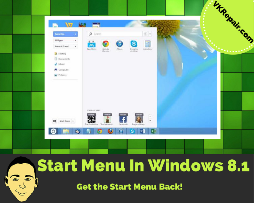 enable start menu windows 8.1 tutorial