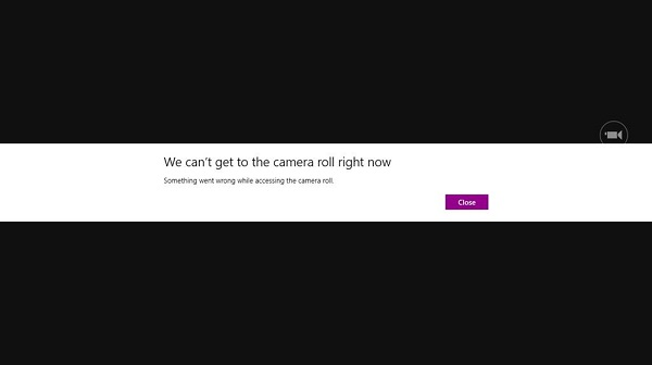We can't get to the camera roll right now error message