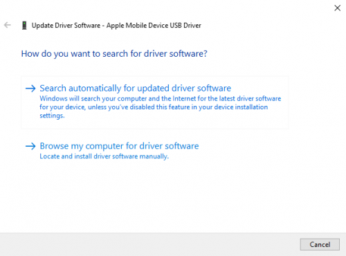 Apple mobile device USB driver unspecified update driver search automatically