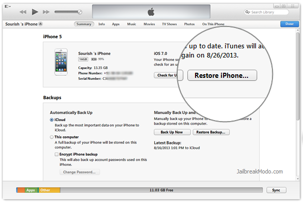 factory restore iPhone