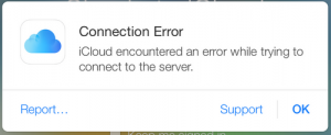 iCloud encountered an error while trying to connect to the server