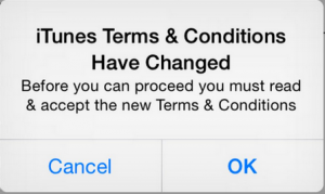 iTunes terms conditions have changed