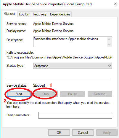 stop Apple mobile device service