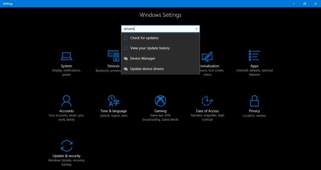Windows settings drivers