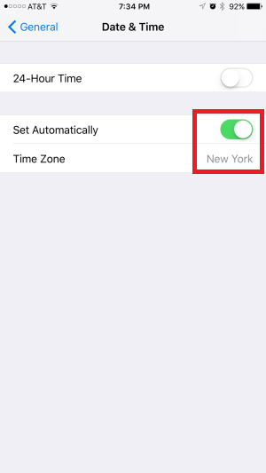 date time set automatically iPhone