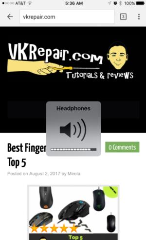iPhone headphones volume icon