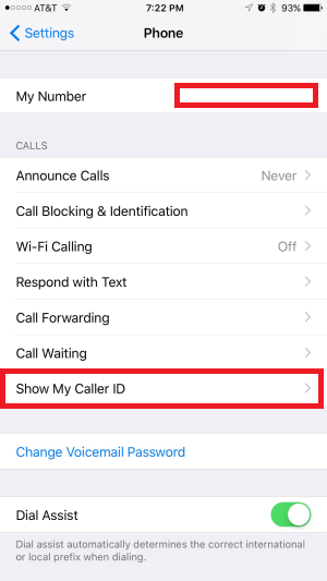 show my caller id iPhone