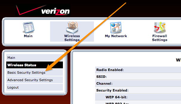 Verizon router basic security settings