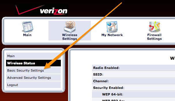 Verizon router basic security settings